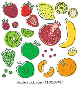 Fruits and berries. Lemon, kiwi, banana, strawberry, raspberry, grapes, apple, pomegranate, mandarin. Hand drawn doodle sketch. Vegetarian, vegan vector menu. Healthy food