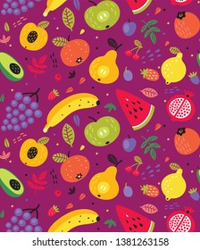 Fruits and berries. Seamless pattern. Background.