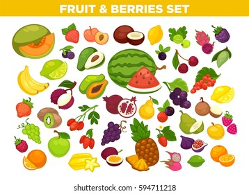 Fruits and berries set. Vector isolated melon, strawberry and cherry, exotic mango or papaya and pineapple. Icons of apple or pear, raspberry and grape, tropical guava or banana and cherry