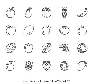 Fruits, berry flat line icons set. Orange, strawberry, pineapple, mango, lemon, kiwi, apple, grape vector illustrations. Outline signs for organic food store. Pixel perfect. Editable Strokes.