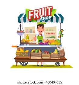 fruits cart with seller character design. fruit and vegetable concept - vector illustration