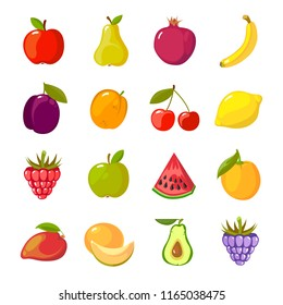 fruits cartoon set. fresh healthy food apples oranges berries tropical fruta collection isolated on white background