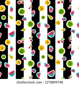 Fruits characters seamless color vector pattern. Striped background with kiwi, oranges, pineapple