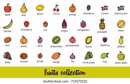 Fruits collection. Healthy vegetarian food icons set. Isolated vector illustration