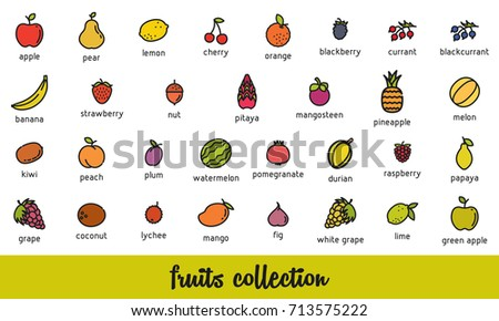 Fruits Collection Healthy Vegetarian Food Icons Stock Vector
