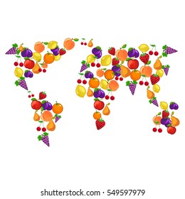 Fruits combined in world map shape with continents of ripe fruit harvest. apple, pear, lemon, strawberry, peach, cherry, apricot.