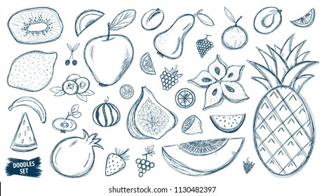 Fruits doodles set. Tropical fruit. Summer. Berry. Scribble collection. Quirky sketch. Fruit. Blueberry. Carambola. Watermelon. Pineapple. Strawberry. Figs. Kiwi. Acai bowl ingredients. Smoothie.
