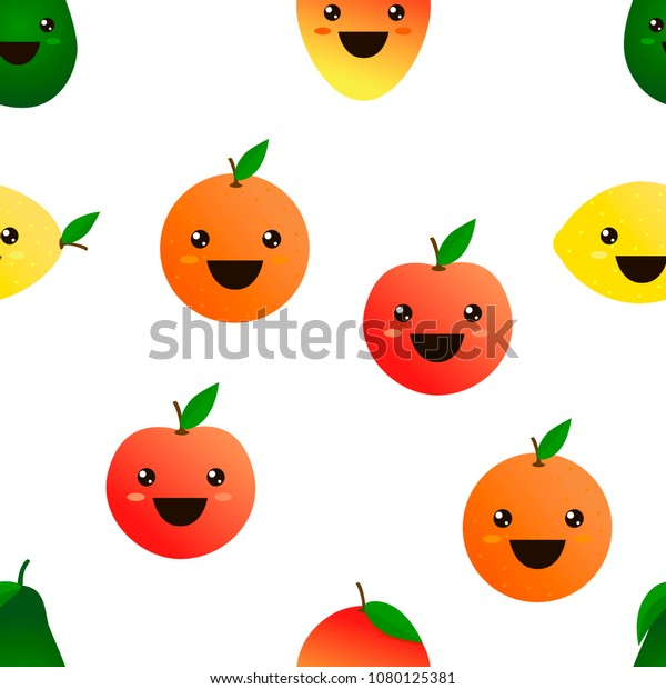 Fruits Emoji Seamless Pattern White Background Stock Vector