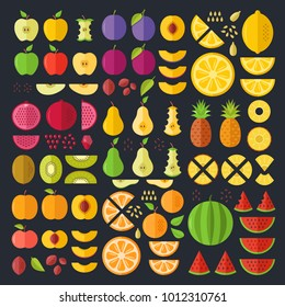 Fruits flat icons set. Colorful flat design graphic elements, illustrations collection for web sites, mobile apps, web banners, infographics, printed materials. Vector icons