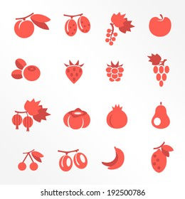 Fruits flat icons / Solid fill icons in EPS 8 format