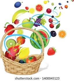 Fruits floating in a Abstract Windy Whirlpool and Basket - Vector Illustration