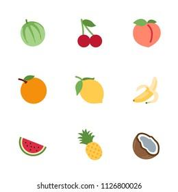 Fruits, fresh food vector illustration icons, emojis, flat cartoon style symbols set, collection, pack.