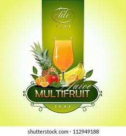 Fruits. Fresh juice. Vector