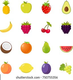 fruits fruit icon set flat design isolated on white background