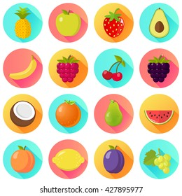 fruits fruit set flat design isolated on circles with shadow
