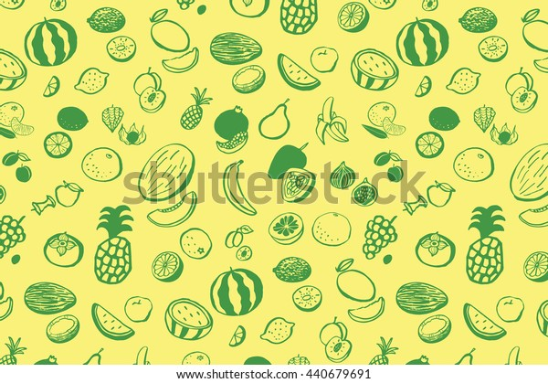 fruits graphic vector line pattern