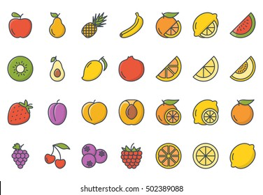Fruits Icon Set Colored