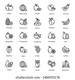 Fruits icon vector pack perfect for food industry. An amazing line style fruits icons and vegetable vectors