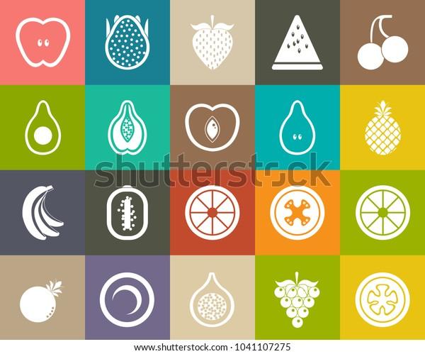 Fruits Icons Fresh Strawberry Orange Apple Stock Vector (Royalty
