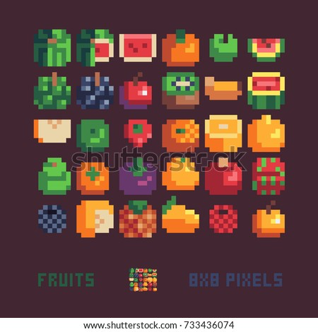 Fruits Icons Set 8x8 Resolution Pixel Art Style Vector Illustration Isolated On Dark