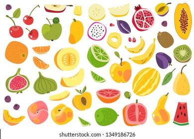 Fruits isolated. Cherry orange peach plum banana melon lime colorful fruit cute kids food natural vegan nutrition cartoon vector set