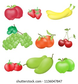 Fruits isolated on white background, set of vector illustrations