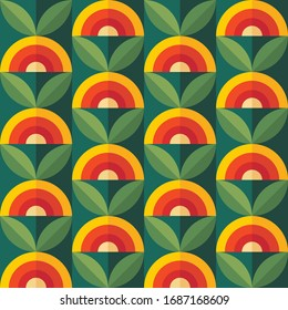 Fruits and leaves nature background. Mid-century modern art vector. Abstract geometric seamless pattern. Decorative ornament in retro vintage design flat style. Floral backdrop.