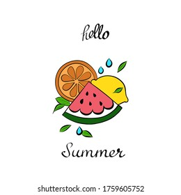 fruits and lettering hello summer, vector illustration isolated on white background