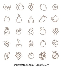 fruits line icon for print and web