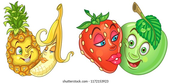 Fruits in Love. Love kiss. Emoticons. Emoji. Cartoon characters for Valentines Day greeting card, kids coloring book page, t-shirt print, icon, logo, label, patch, sticker.