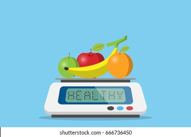 fruits on digital weight scale with healthy word, diet and health concept