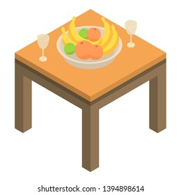 Fruits on table icon. Isometric of fruits on table vector icon for web design isolated on white background