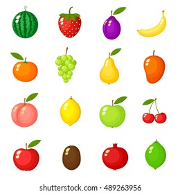 Fruits on white background, Vector illustrations Set of cartoon. Vector  isolated on Background, Food vegan,