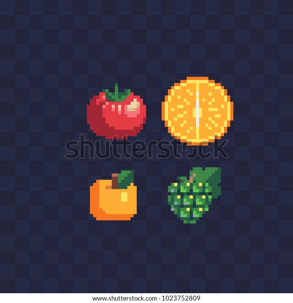 Fruits Pixel Art Icon Set Tomato Stock Vector Royalty Free