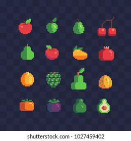 Fruits pixel art icons set apple pear cherry mango grape and garnet isolated vector illustration. Design for stickers, logo, mobile app. Video game assets 80s 8-bit sprite sheet.