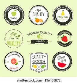 Fruits premium quality labels set