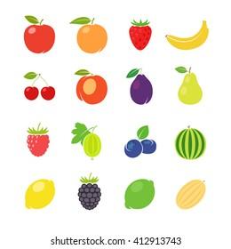 Fruits retro illustration. Different fruits in vintage style. Vector illustration