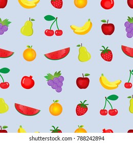 fruits seamless on blue pastel background