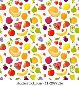 Fruits seamless pattern. Fresh healthy organic vitamin food vector pictures