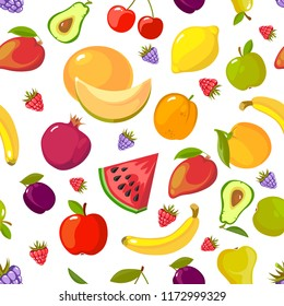 Fruits seamless pattern. Fresh healthy organic vitamin food vector background pictures