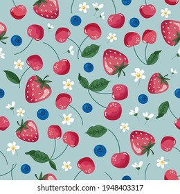 Fruits seamless pattern. Strawberry, cherry, and blossom. Romantic vintage background for textile, fabric, decorative paper. Vector illustration