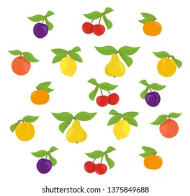 Fruits set background. Apple, peach and lemon mandarin pear. Cherry and plum. Vector illustration. Multicolored with leaves.