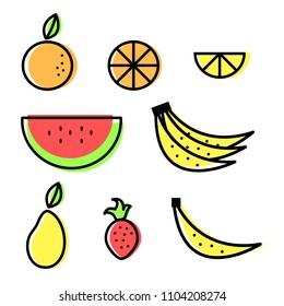 Fruits Set, Icon Vector, Flat Design, Abstract Orange, Lemon, Watermelon, Banana, Mango and Strawberry