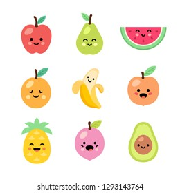 Fruits set. Kawaii