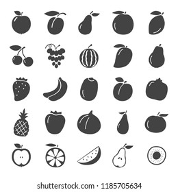 Fruits simple icons set