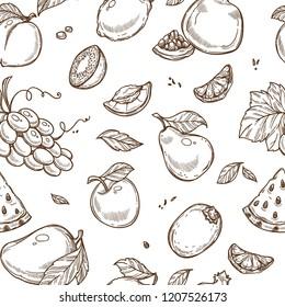Fruits sketch pattern background. Vector seamless design
