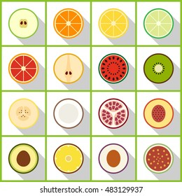 fruits slice flat icon. You can be used fruits slice icon for several purposes like: websites, UI, UX, print templates, promotional materials, info-graphics, web and mobile phone apps.