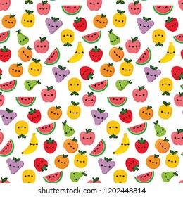 Fruits smiley face seamless pattern vector illustration for kids