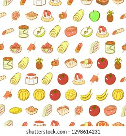 Fruits and Snacks set. Background for printing, design, web. Usable as icons. Seamless. Colored.