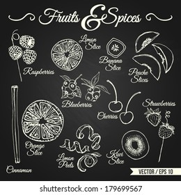 Fruits and spices drawings set for different usage - vector